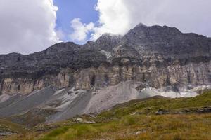 Italy. Aosta Valley. Monte Rosa Massif. Cliffs and debris cones