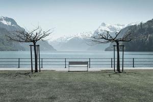Parque en la ciudad de Brunnen en Suiza foto