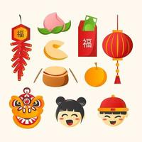 Cute Hand Drawn Chinese New Year Flat Icons vector
