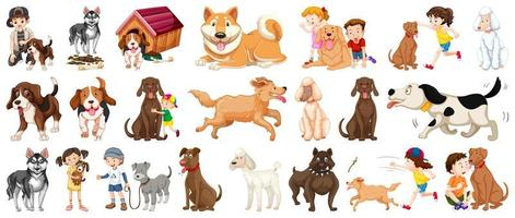 conjunto de personaje de dibujos animados de perro vector