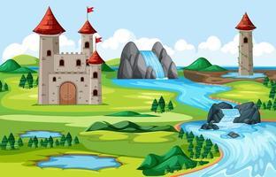 Castillos y parque natural con paisaje junto al río. vector