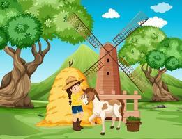 escena de la granja con niña y caballo en la granja.