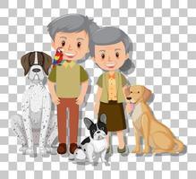 Pareja de ancianos con sus perros de compañía aislados sobre fondo transparente