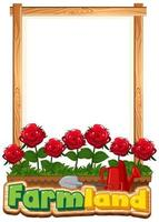 Border template design with red roses in the garden