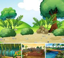 Four different nature scene of forest and river cartoon style vector