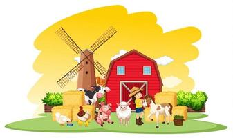 escena de la granja con granjero y muchos animales en la granja.