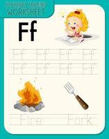 hoja de trabajo de rastreo alfabético con letras y vocabulario