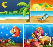 Cuatro escenas diferentes de playa tropical y sirena bajo el agua con creador de mar vector