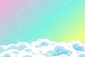 Fondo de cielo pastel arco iris en blanco con nubes