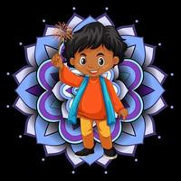 Background design with happy kids and mandala patterns vector