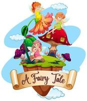 Font design for word a fairy tale with many fairies flying in garden