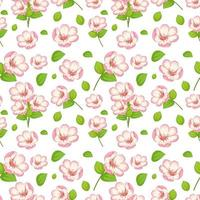 Set of cute pink flowers and leaf vector