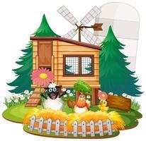 Fondo de tema de granja con animales de granja