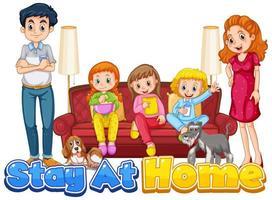 escena con personas que se quedan en casa con la familia. vector