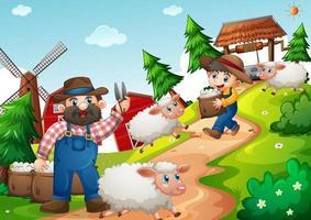 padre e hijo en la granja con muchas ovejas