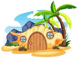 casa de cuento de hadas de concha en la playa estilo de dibujos animados sobre fondo blanco