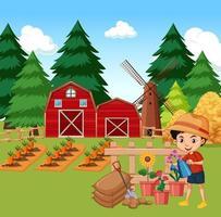 escena de la granja con niño regando flores en el jardín