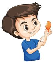 Cute boy eating fried chicken on white background