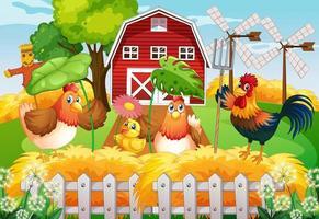 Farm theme background with farm animals vector