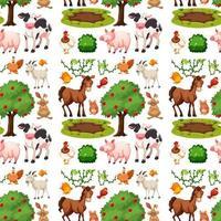 Farm animal group seamless pattern vector