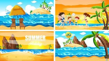 Four background scenes with summer on the beach vector