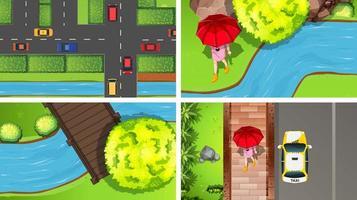 Conjunto de escenas aéreas de vista superior en la naturaleza y al aire libre.