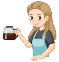 personaje de dibujos animados de dama barista con café vector