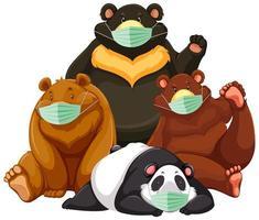cuatro tipos de personaje de dibujos animados de oso con máscara