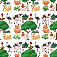 Wild cute animal and tree seamless pattern