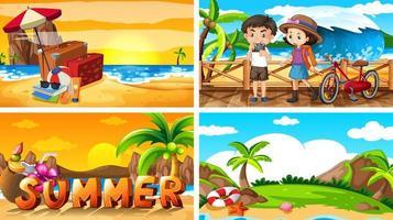 cuatro escenas de fondo con verano en la playa. vector