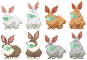 rabbit cartoon character wearing mask vector