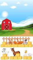 Farm scene with many animals on the farm vector