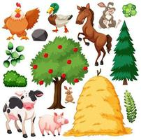 Set of cute animal farm and nature vector
