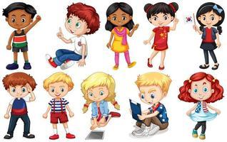conjunto de niños de diferentes países