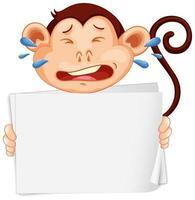 Plantilla de cartel en blanco con mono llorando sobre fondo blanco.