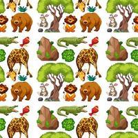 Wild animal and tree seamless pattern