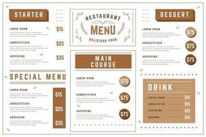 Plantilla de menú de restaurante en formato horizontal.