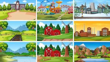 conjunto de escenas en el entorno de la naturaleza. vector