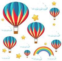 globo colorido transparente con arco iris y patrón de estrella vector