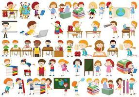 Boys, girls, children in educational fun activty theme vector