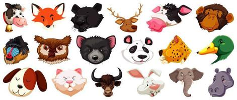 Set of different cute cartoon animals head huge isolated on white background vector