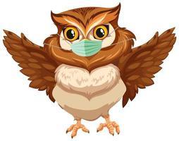 Owl cartoon character wearing mask vector