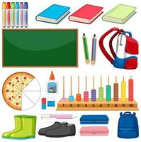 Large set of school items on white background vector
