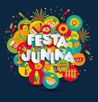 Festa Junina festival lettering vector