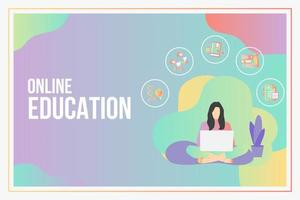 Online education concept with text place
