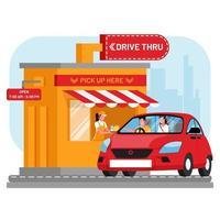 Drive thru window with red car