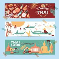 Collection of Thailand symbols in banners vector