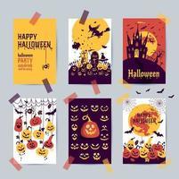 conjunto de postales de halloween vector