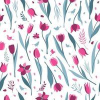 tulipán de patrones sin fisuras sobre fondo blanco vector