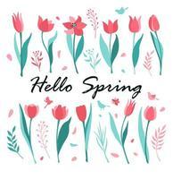 hola primavera tarjeta de felicitación vector